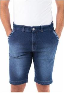 Bermuda Jeans Traymon Slim Chino Estonada Masculina - Masculino-Azul