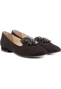 Mocassim Couro Shoestock Slipper Pedraria Feminino - Feminino-Preto