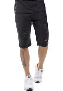 Bermuda Offert Jeans Premium Destroyed Slim Fit Preta