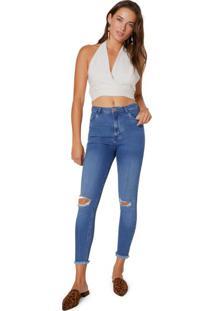 Calça Jeans Skinny Com Rasgos