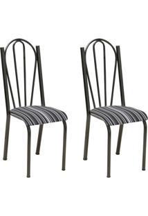 Conjunto 2 Cadeiras Mnemósine Cromo Preto E Preto Listrado
