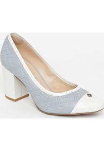 Sapato Em Couro Matelassê- Azul Claro & Branco- Saltcapodarte
