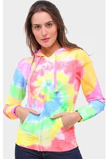 Jaqueta Moletom Gajang Tie Dye Feminina - Feminino-Colorido