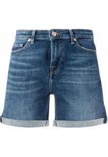 7 For All Mankind Short Jeans Com Barra Dobrada - Azul