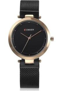 Relógio Curren Analógico C9005L Feminino - Unissex-Preto