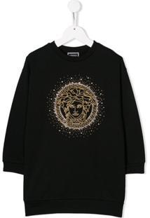 Young Versace Vestido Com Aplicação De Logo - Preto