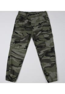 Calça Infantil Jogger Estampada Camuflada Com Bolsos Verde Militar