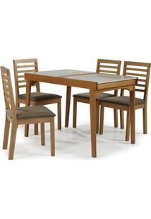 Conjunto Navagio Mesa Elastica Tampo Vidro Branco Cadeira Ripada Estofado Marrom - 59608 - Sun House