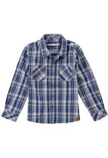 Camisa Azul Escuro Xadrez Tricoline