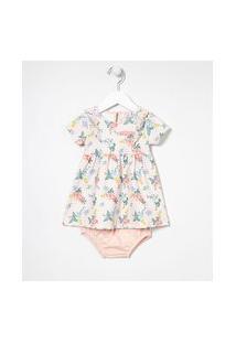 Vestido Infantil Estampa Flores Com Calcinha - Tam 0 A 18 Meses | Teddy Boom (0 A 18 Meses) | Multicores | 12-18M
