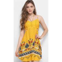 97a1e473f Vestido Farm Evasê Recorte Bela Flor - Feminino-Amarelo