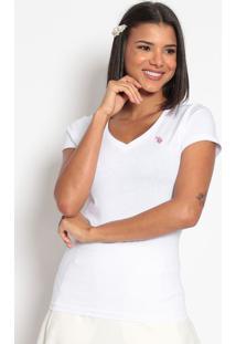 Camiseta Lisa Bordada- Brancaus Polo