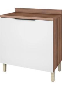 Módulo De Cozinha Balcão 2 Portas - 80 Cm - 500238 - Nogal Com Branco - Donna - Nesher