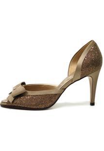 Peep Toe Bianti Glittler Com Detalhe De Laço Em Cetim Dourado