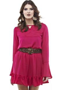 Vestido Manola Manga Flare Em Viscose Pink