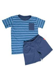 Pijama Infantil Jokenpô Curto Masculino Azul