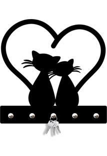 Porta Chaves Cat Love Love Decor Preto - Kanui