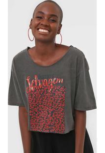 Camiseta Cropped Oh, Boy! Instinto Selvagem Cinza - Kanui
