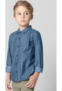 Camisa Azul Maquinetada Menino