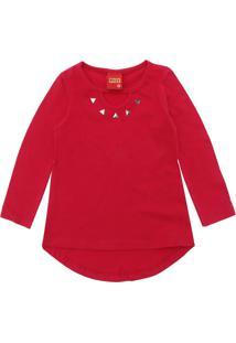 Camiseta Kyly Menina Lisa Vermelha