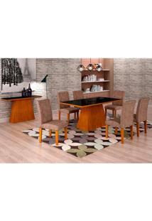 Conjunto De Mesa De Jantar Luna Com 6 Cadeiras Ane Suede Animalle Imbuia, Preto E Chocolate