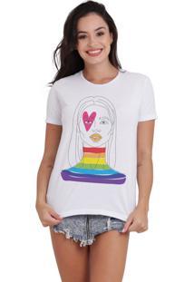 Camiseta Basica Joss Lgbt Face Branca - Kanui