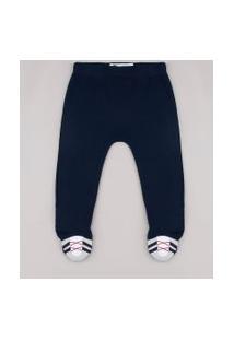 Calça Infantil Com Pezinho E Bordado Azul Marinho