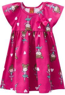 Vestido Infantil - Meia Malha - Bailarina - Rosa Choque - Kyly - 1