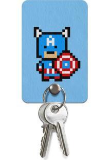 Porta Chaves Ecológico Capitão Pixel América Geek10 Azul