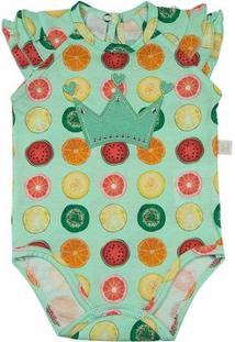 Body Infantil Ano Zero Malha Estampa Digital Frutas Coroa Feminina - Feminino-Verde