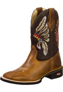 Botina Country Texana Bico Redondo Couro Bordada