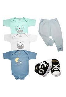 Body Bordado Enxoval Roupa Bebê Kit 5 Pçs Mijão E Sapatinho Azul