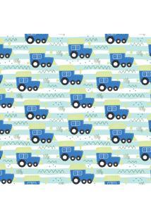 Papel De Parede Quartinhos Adesivo Trenzinho Azul 2,70X0,57M