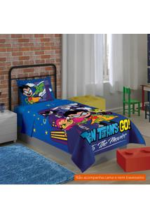 Jogo De Cama Infantil Com 3 Peças Teen Titans Go Algodão Azul