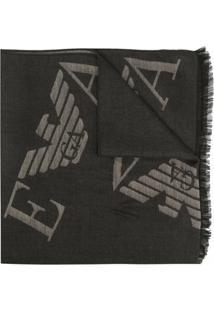 Emporio Armani Cachecol Com Logo Bordado - Verde