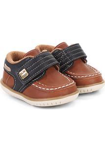 Sapato Infantil Klin Masculino - Masculino-Caramelo+Preto
