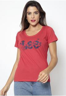 Camiseta Inscrição Com Flores- Vermelha & Azul Marinho