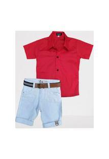 Bermuda Branca Com Camisa Vermelha Infantil Bermuda Branca Com Camisa Vermelha Infantil
