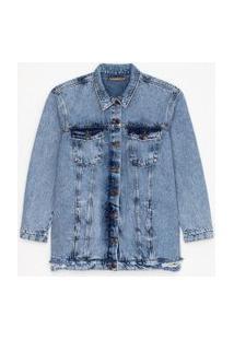Jaqueta Jeans Alongada Marmorizada Com Puídos Curve & Plus Size | Ashua Curve E Plus Size | Azul | Gg
