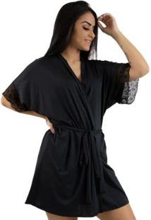 Robe Rioutlet Com Renda Fashion - Feminino-Preto
