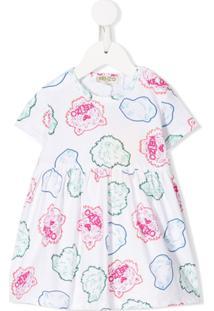 Kenzo Kids Vestido Com Estampa Multi-Icon - Branco