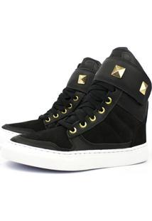 Tênis Sneaker Cheia De Marra Couro Cano Alto Preto