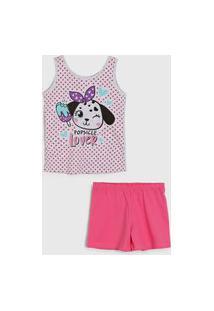Pijama Malwee Liberta Curto Infantil Cachorrinho Cinza/Rosa