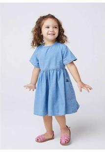 Vestido Jeans Curto Infantil Menina Toddler Azul