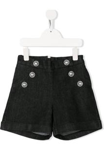 Balmain Kids Double-Breasted Shorts - Preto