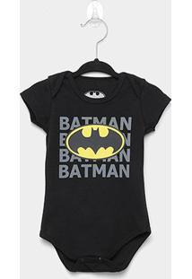 Body Infantil Marlan Batman Bebê - Masculino-Preto