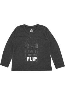Camiseta Hering Kids Menina Frontal Cinza