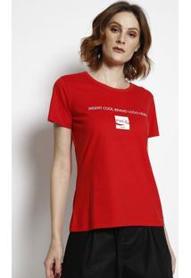 """Camiseta """"Coca-Colaâ®"""" Com Aroma - Vermelha & Branca Coca-Cola"""