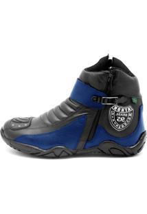 Bota Atron Shoes Motociclista Azul