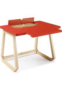 Mesa Para Escritório Madeira Maciça Hush 94X77,5X73,5Cm - Taeda E Cor Vermelha